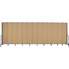 "Screenflex 13 Panel Portable Room Divider, 8'H x 24'1""L, Fabric Color: Sand"