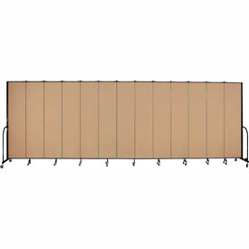 "Screenflex 13 Panel Portable Room Divider, 8'H x 24'1""L, Fabric Color: Wheat"