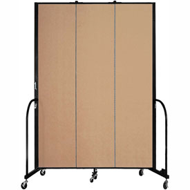 "Screenflex 3 Panel Portable Room Divider, 8'H x 5'9""L, Fabric Color: Desert"