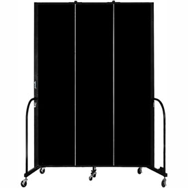 "Screenflex 3 Panel Portable Room Divider, 8'H x 5'9""L, Fabric Color: Charcoal Black"