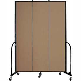 "Screenflex 3 Panel Portable Room Divider, 8'H x 5'9""L, Fabric Color: Beech"