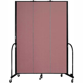 "Screenflex 3 Panel Portable Room Divider, 8'H x 5'9""L, Fabric Color: Mauve"