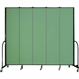 "Screenflex 5 Panel Portable Room Divider, 8'H x 9'5""L, Fabric Color: Sea Green"