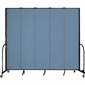 "Screenflex 5 Panel Portable Room Divider, 8'H x 9'5""L, Fabric Color: Blue"