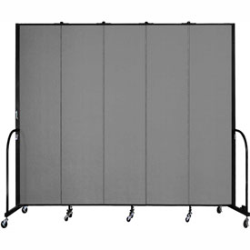 "Screenflex 5 Panel Portable Room Divider, 8'H x 9'5""L, Fabric Color: Grey"