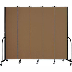 "Screenflex 5 Panel Portable Room Divider, 8'H x 9'5""L, Fabric Color: Oatmeal"