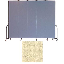 "Screenflex 5 Panel Portable Room Divider, 8'H x 9'5""L, Vinyl Color: Hazelnut"