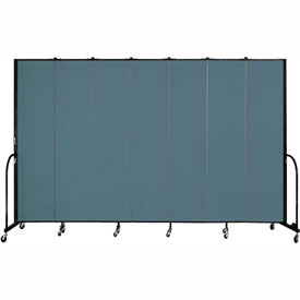 "Screenflex 7 Panel Portable Room Divider, 8'H x 13'1""L, Fabric Color: Lake"