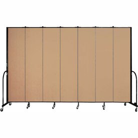 "Screenflex 7 Panel Portable Room Divider, 8'H x 13'1""L, Fabric Color: Desert"