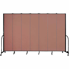 "Screenflex 7 Panel Portable Room Divider, 8'H x 13'1""L, Fabric Color: Cranberry"