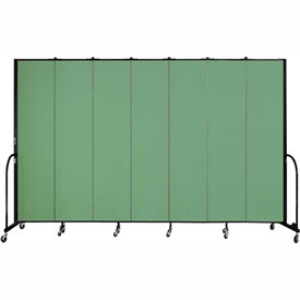 "Screenflex 7 Panel Portable Room Divider, 8'H x 13'1""L, Fabric Color: Sea Green"