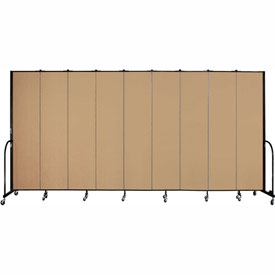"Screenflex 9 Panel Portable Room Divider, 8'H x 16'9""L, Fabric Color: Sand"