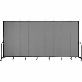 "Screenflex 9 Panel Portable Room Divider, 8'H x 16'9""L, Fabric Color: Grey"