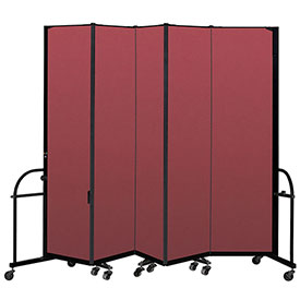"Screenflex 5 Panel Heavy Duty Portable Room Divider - 7' 4""H x 9' 5""L - Fabric Color: Red"