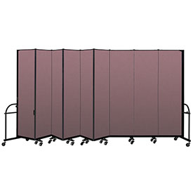 """Screenflex 9 Panel Heavy Duty Portable Room Divider - 7' 4""""H x 16' 9""""L - Fabric Color: Rose"""