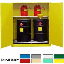 Securall® 120-Gallon, Manual Close,Vertical Flammable Drum Cabinet Md Green