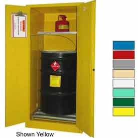 Securall® 60-Gallon, Manual Close, Haz Waste Drum Storage Cabinet Md Green