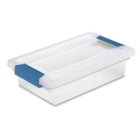 "Sterilite Small Clip Clear Storage Box With Latched Lid 19618606 - 11""L x 6-5/8""W x 2-3/4""H - Pkg Qty 6"