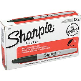 Sharpie® Permanent Marker, Fine Point, Black Ink - Pkg Qty 12