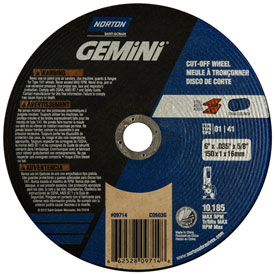 "Norton 66252809714 Gemini Circular Saw Cut-Off Wheel 6"" x .040"" x..."