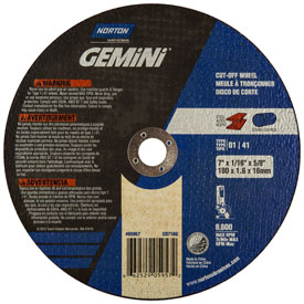 "Norton 66252905957 Gemini Circular Saw Cut-Off Wheel 7"" x .060"" x..."