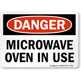 """MySafetySign Danger: Microwave Oven In Use, Adhesive Signs and Labels, 5"""" x 3.5"""" by"""
