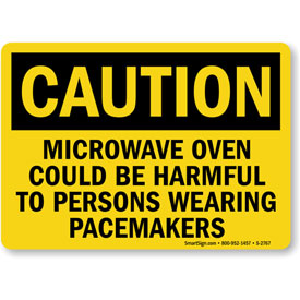 """MySafetySign Caution: Microwave Oven Could Be Harmful To Persons, Aluminum Sign, 14""""... by"""