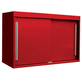 "48"" Sliding Door Upper Cabinet-48""W x 15""D x 30""H-Carmine Red"