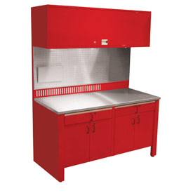 Realiti® Workcenter-Stationary w/ Stainless Steel Top-Carmine Red