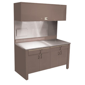 Realiti® Workcenter-Stationary w /  Stainless Steel Top-Pewter Grey