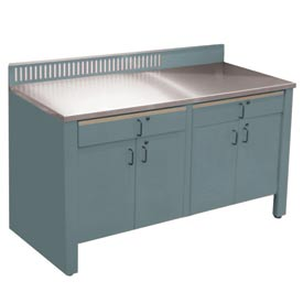 Realiti® Workbench-Stationary Includes Stainless Steel Top-Sebring Grey
