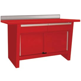 Custom® Series-Stationary, Hardwood Top, 2 Drawers/2 Doors-Carmine Red