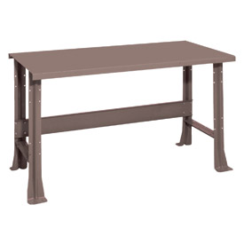 """Shureshop® bench-stationary, painted steel top, 60"""" x 29""""-Pewter Grey"""