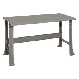 "Shureshop® bench-stationary, painted steel top, 60"" x 29""-Sebring Grey"