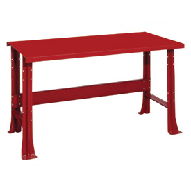 """Shureshop® bench-stationary, painted steel top, 72"""" x 29""""-Carmine Red"""