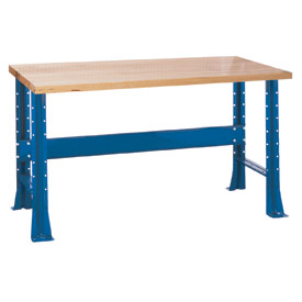 "Shureshop® bench-stationary, maple top, 72"" x 30""-Monaco Blue"
