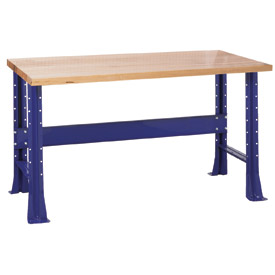 "Shureshop® bench-stationary, maple top, 72"" x 30""-St.Louis Blue"