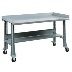 "Shureshop® bench w/acc kit-portable,painted steel top, 60""x29""-Sebring Grey"