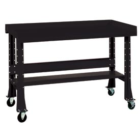 "Shureshop® bench w/acc kit-portable, painted steel top,72""x 29""-Gloss Black"
