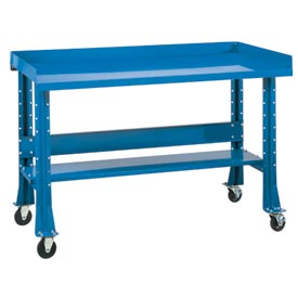 "Shureshop® bench w/acc kit-portable, painted steel top,72""x 29""-Monaco Blue"