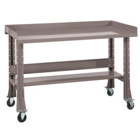 "Shureshop® bench w/acc kit-portable,painted steel top,72""x 34""-Pewter Grey"