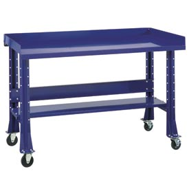 "Shureshop® bench w/acc kit-portable, maple top, 60"" x 30""-St.Louis Blue"