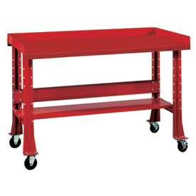 """Shureshop® bench w/acc kit-portable, maple top, 72"""" x 30""""-Carmine Red"""