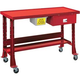"Oversized Tear-Down/Fluid Containment Bench-Portable, 60""W x 32""D-Carmine Red"