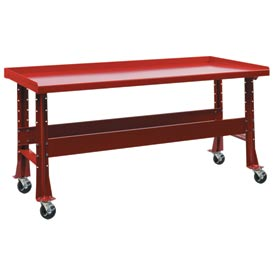 "Trans Max Bench-Portable, Steel top, 73-1/2""W x 34-1/4""D-Carmine Red"