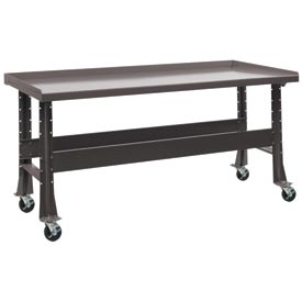 "Trans Max Bench-Portable, Steel Top, 73-1/2""W x 34-1/4""D-Pewter Gray"