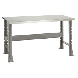 """Shureshop® bench-stationary, stainless steel top, 72"""" x 29""""-Sebring Grey"""