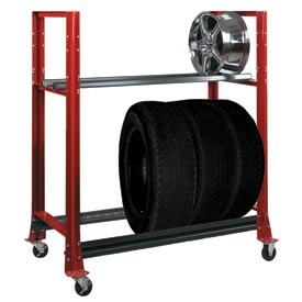 "2 Tier Tire Cart- 54-3/4""W x 25-5/8""D x 62""H-Carmine Red"