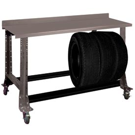 """Tire Cart w/ Painted Steel Bench Top 54-1/2""""W x 25-5/8""""D x41""""H-Pewter Grey"""