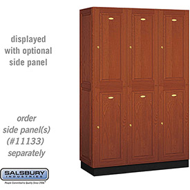 Salsbury Solid Oak Executive Wood Locker 12368 - Double Tier 3 Wide, 16x18x36, 6 Door, Medium Oak